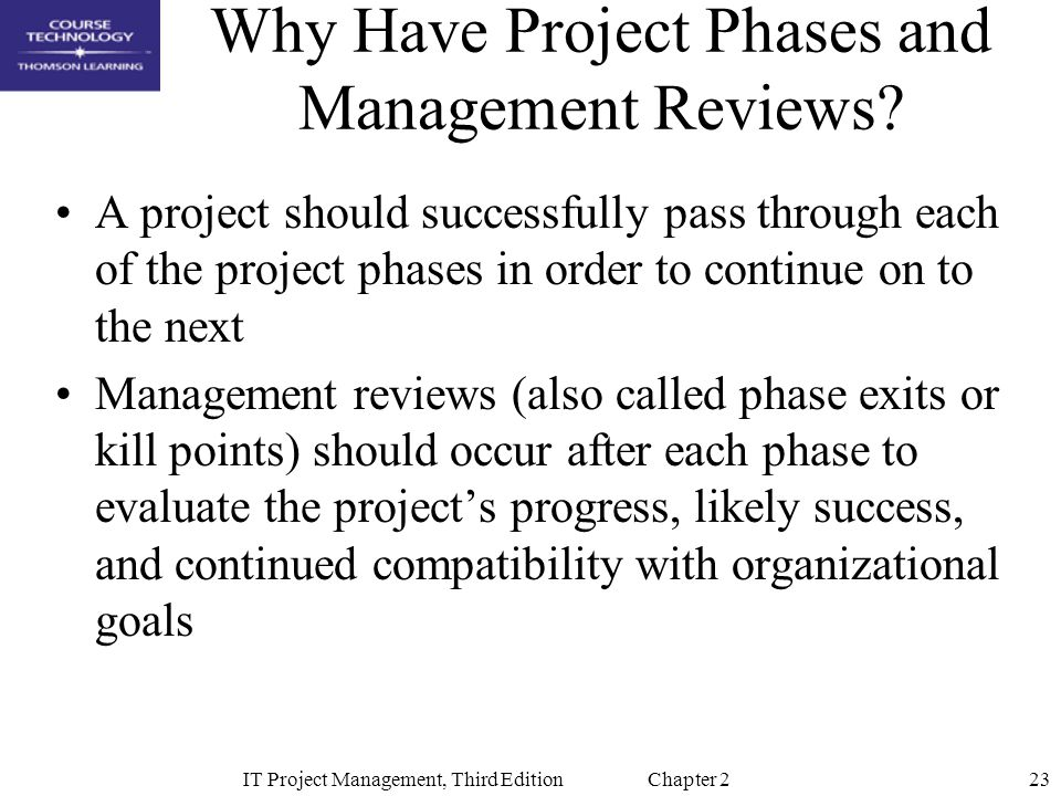 23IT Project Management, Third Edition Chapter 2 Why Have Project Phases and Management Reviews.