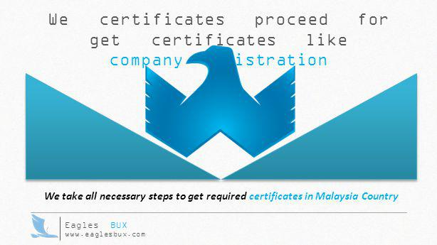 We certificates proceed for get certificates like company registration Eagles BUX www.eaglesbux.com We take all necessary steps to get required certif