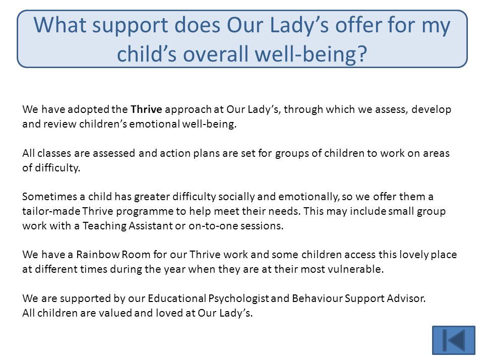 What support does Our Lady's offer for my child's overall well-being.