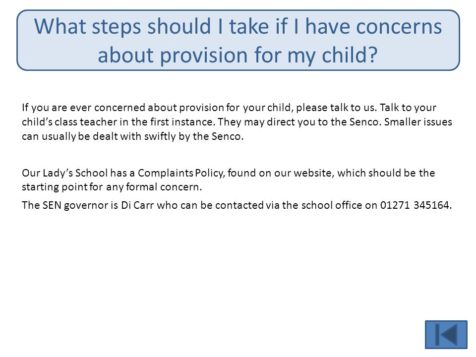 What steps should I take if I have concerns about provision for my child.