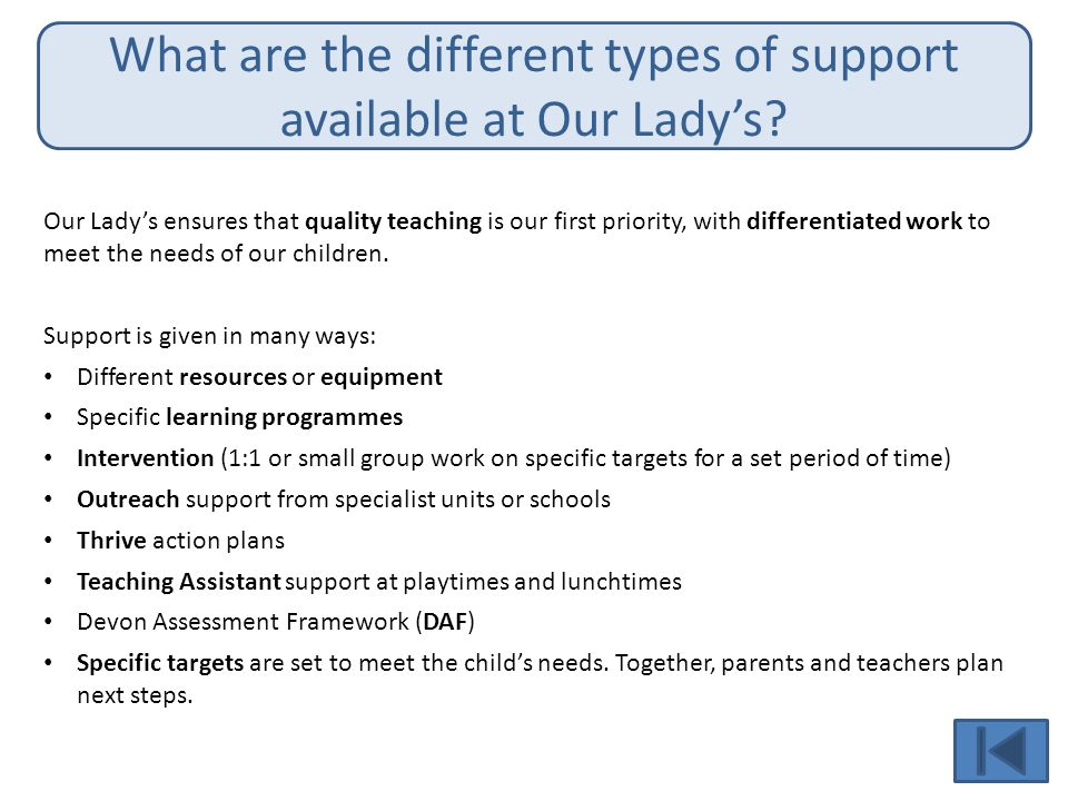 What are the different types of support available at Our Lady's.