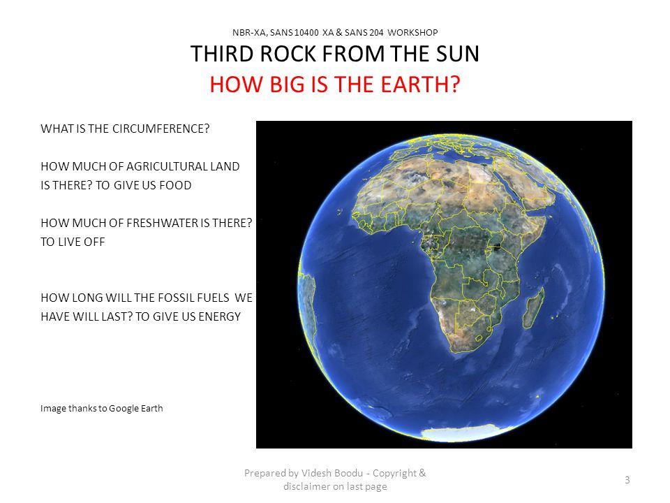 NBR-XA, SANS 10400 XA & SANS 204 WORKSHOP THIRD ROCK FROM THE SUN WHAT IS THE CIRCUMFERENCE.