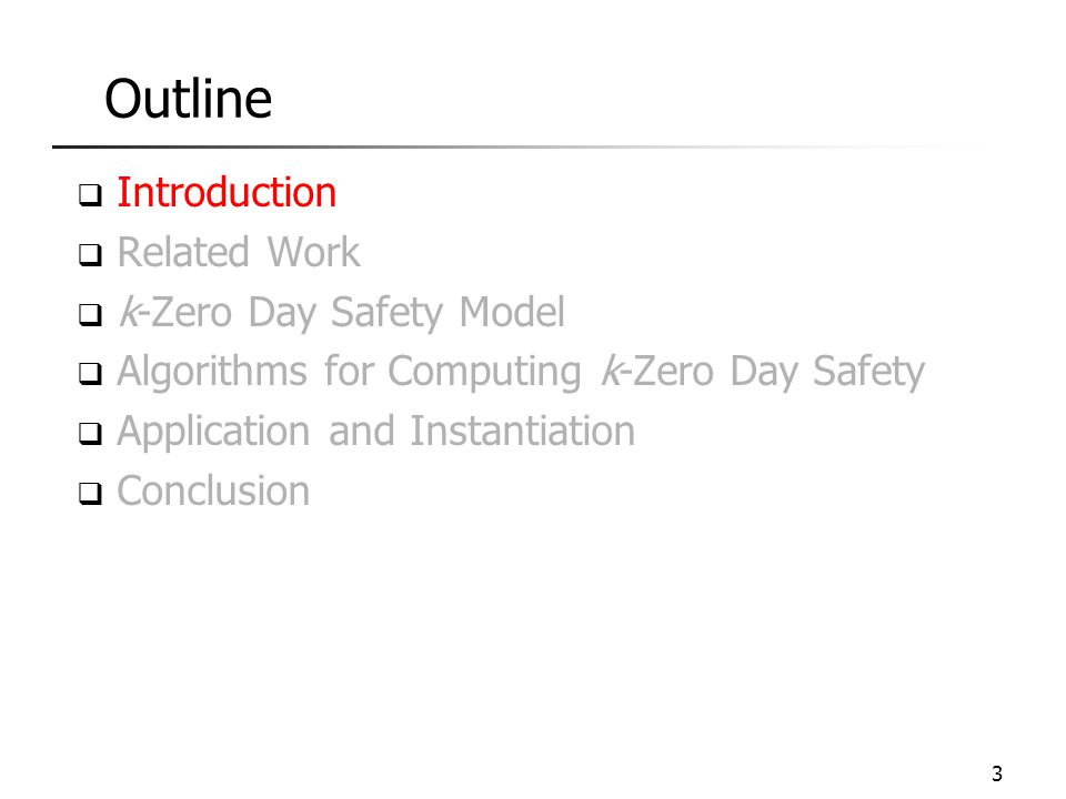 Outline  Introduction  Related Work  k-Zero Day Safety Model  Algorithms for Computing k-Zero Day Safety  Application and Instantiation  Conclus