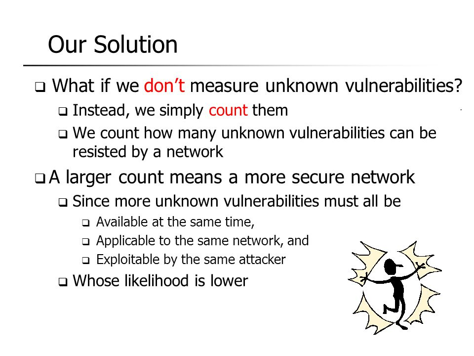 "9  What if we can't measure unknown vulnerabilities?  Attackers can simply step outside and do as he pleases 1  What's the value of a ""more secure"""
