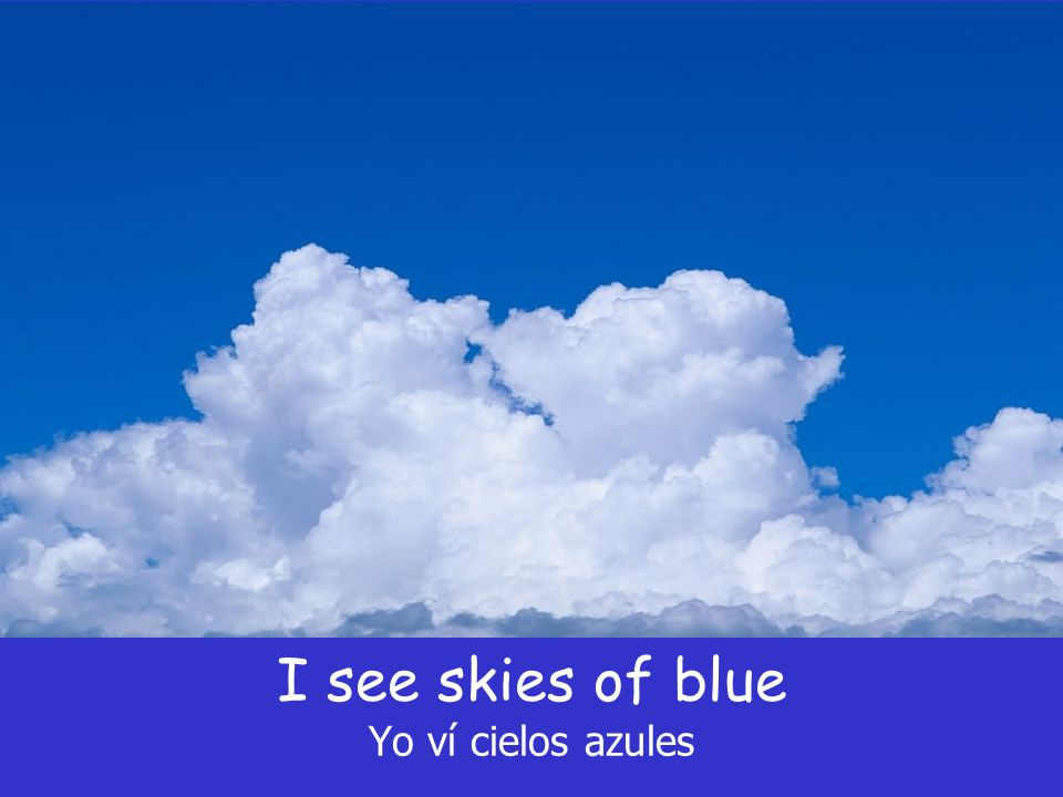 I see skies of blue Yo ví cielos azules