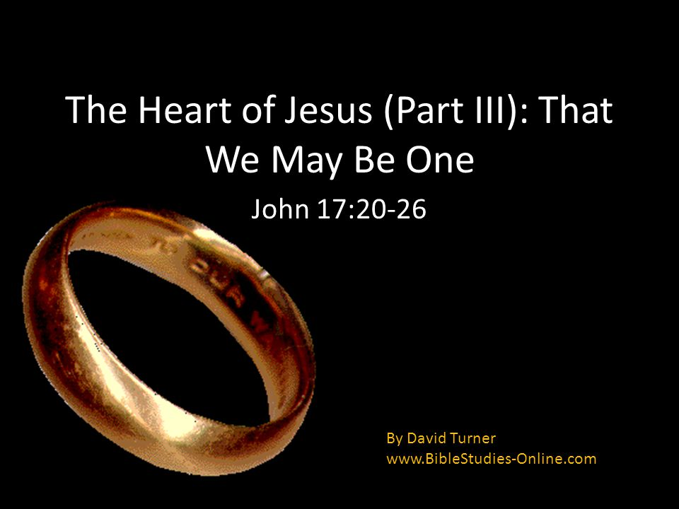 The Heart of Jesus (Part III): That We May Be One John 17:20-26 By David Turner www.BibleStudies-Online.com