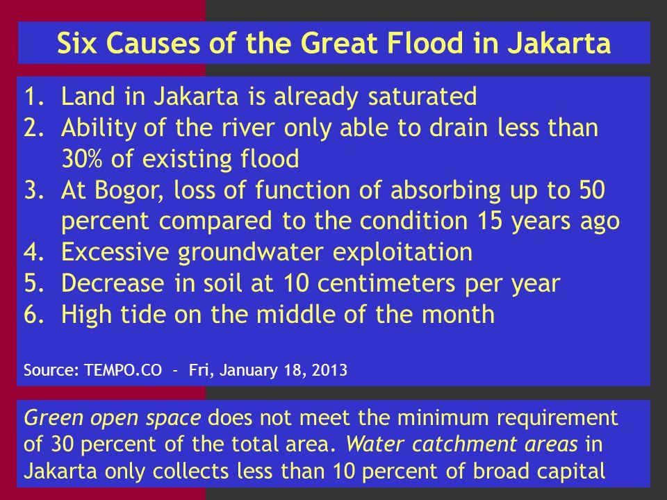 Losses on Jakarta Flooding YearTotal VictimsTotal Material Looses 2007 80 people dead 320,000 people displaced IDR 4.3 trillion of losses on an area of 231.8 square km 2013 20 people dead 245,119 people displaced IDR 32 trillion of losses Source: 1.(http://www.jakartabali.com/bnpb-jakarta-flood-2013-losses-not-as-high-as- 2007.html)http://www.jakartabali.com/bnpb-jakarta-flood-2013-losses-not-as-high-as- 2007.html 2.(http://www.thejakartaglobe.com/news/total-losses-for-jakarta-flooding-hit-rp-32- trillion/568862http://www.thejakartaglobe.com/news/total-losses-for-jakarta-flooding-hit-rp-32- trillion/568862 3.(http://www.bnpb.go.id/news/read/1213/20-meninggal-dan-45954-masih-mengungsi- akibat-banjir-jakarta)http://www.bnpb.go.id/news/read/1213/20-meninggal-dan-45954-masih-mengungsi- akibat-banjir-jakarta