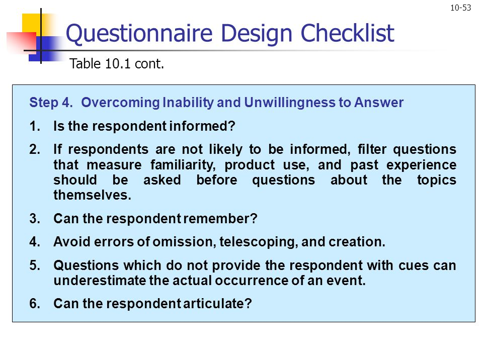 10-53 Questionnaire Design Checklist Table 10.1 cont. Step 4. Overcoming Inability and Unwillingness to Answer 1.Is the respondent informed? 2.If resp