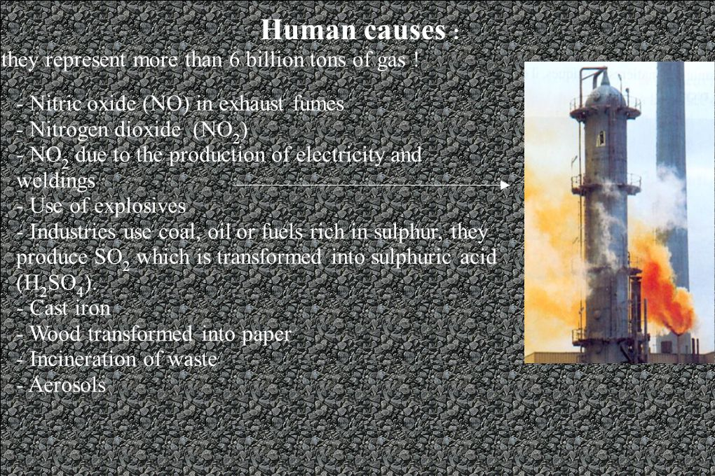 - Nitric oxide (NO) in exhaust fumes - Nitrogen dioxide (NO 2 ) - NO 2 due to the production of electricity and weldings - Use of explosives - Industries use coal, oil or fuels rich in sulphur, they produce SO 2 which is transformed into sulphuric acid (H 2 SO 4 ).