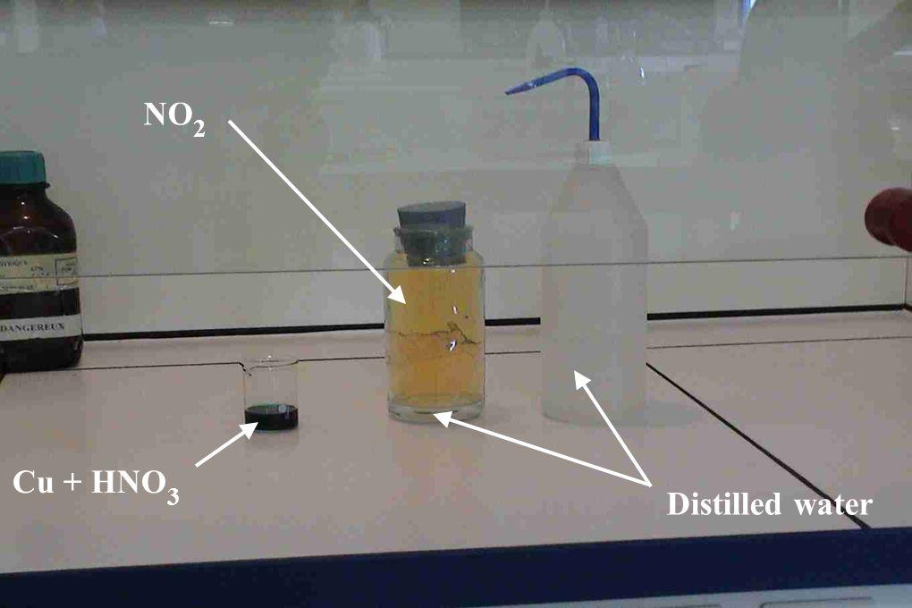 Cu + HNO 3 NO 2 Distilled water