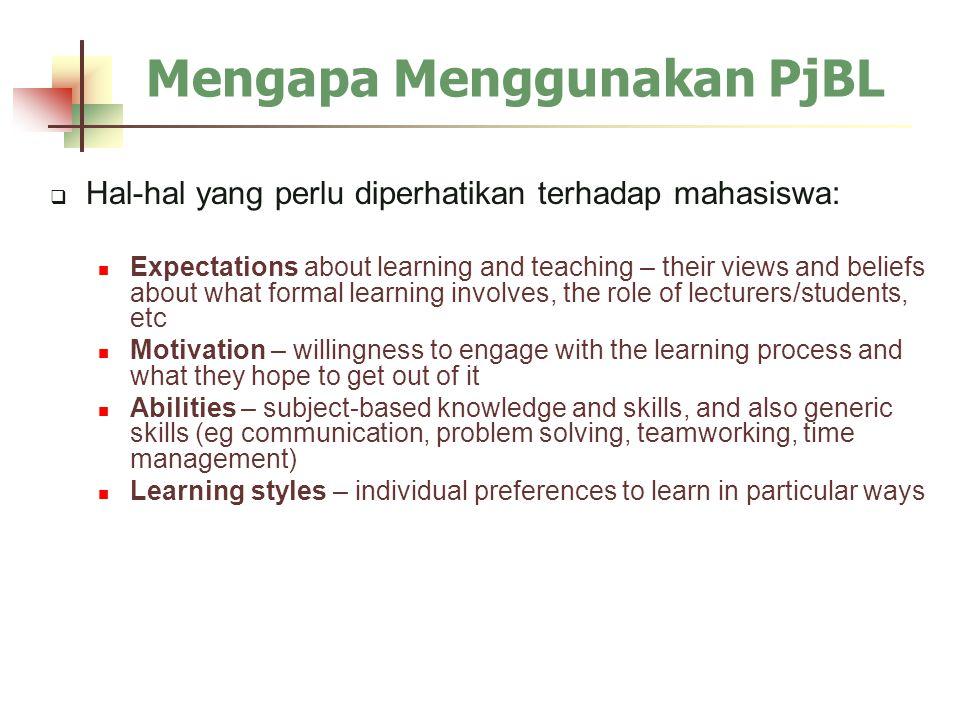 Mengapa Menggunakan PjBL  Hal-hal yang perlu diperhatikan terhadap mahasiswa: Expectations about learning and teaching – their views and beliefs abou
