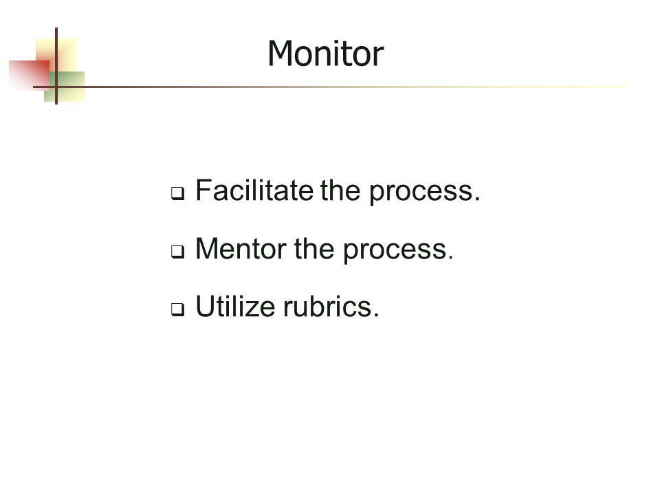 Monitor  Facilitate the process.  Mentor the process.  Utilize rubrics.