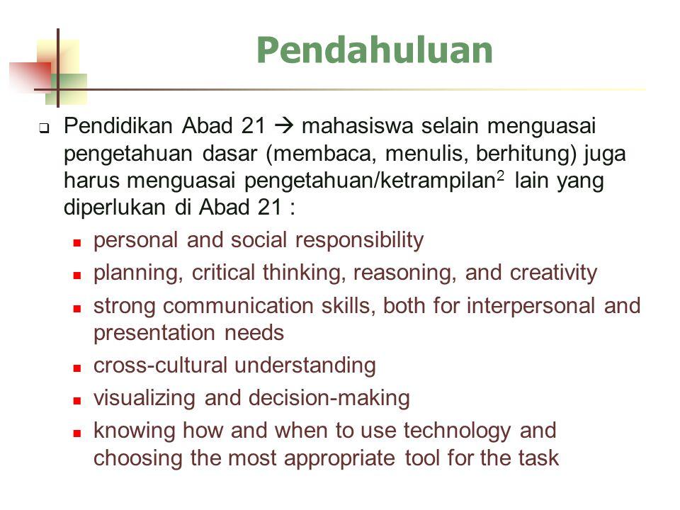  Pendidikan Abad 21  mahasiswa selain menguasai pengetahuan dasar (membaca, menulis, berhitung) juga harus menguasai pengetahuan/ketrampilan 2 lain