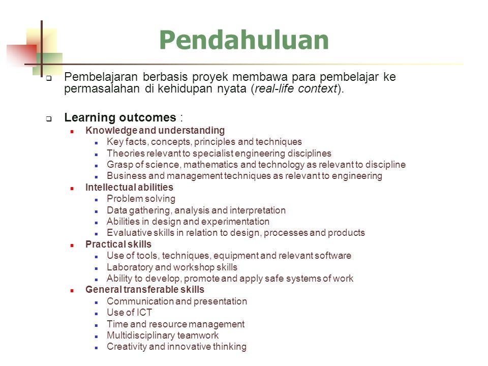  Pembelajaran berbasis proyek membawa para pembelajar ke permasalahan di kehidupan nyata (real-life context).  Learning outcomes : Knowledge and und