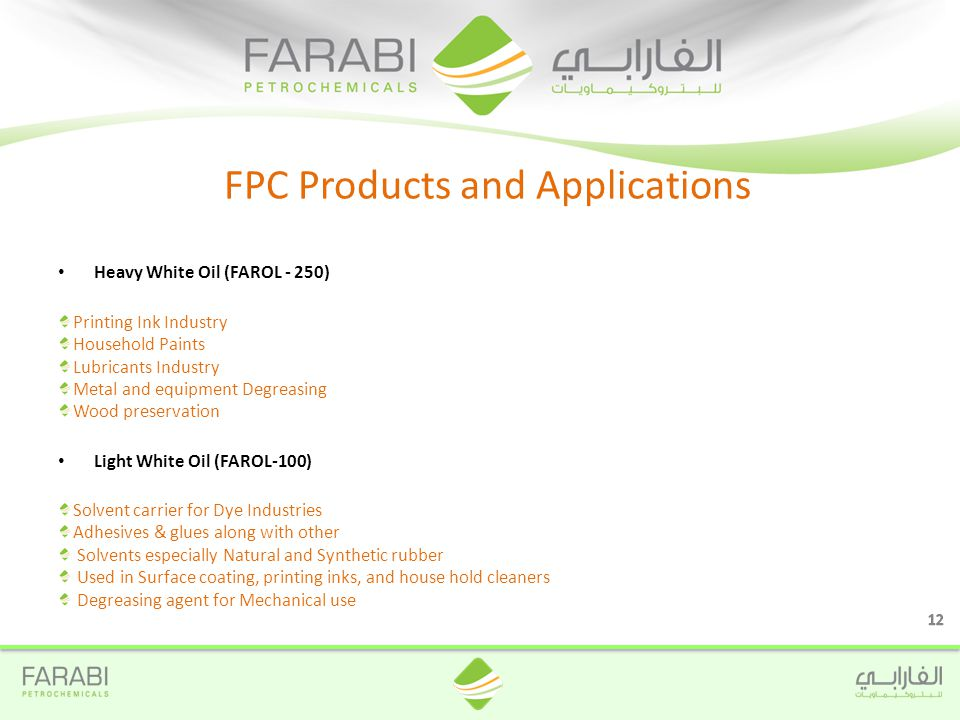 Heavy White Oil (FAROL - 250) Printing Ink Industry Household Paints Lubricants Industry Metal and equipment Degreasing Wood preservation Light White Oil (FAROL-100) Solvent carrier for Dye Industries Adhesives & glues along with other Solvents especially Natural and Synthetic rubber Used in Surface coating, printing inks, and house hold cleaners Degreasing agent for Mechanical use FPC Products and Applications