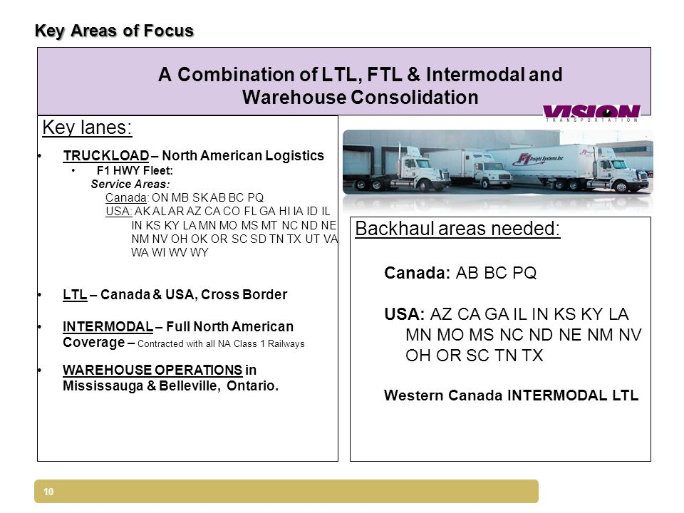 10 Key Areas of Focus A Combination of LTL, FTL & Intermodal and Warehouse Consolidation Key lanes: TRUCKLOAD – North American Logistics F1 HWY Fleet: