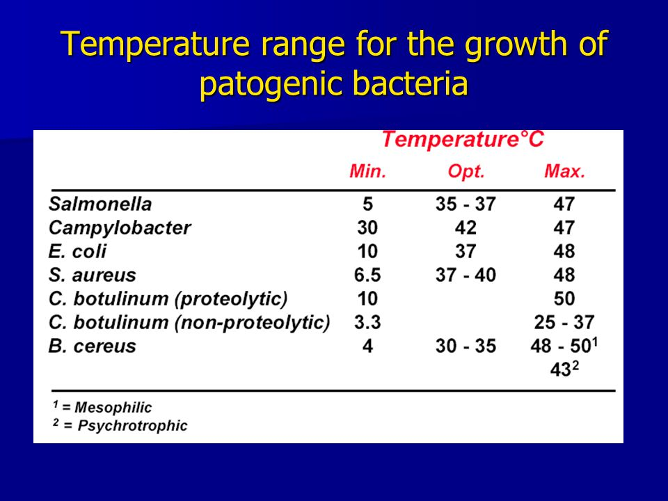 Temperature range for the growth of patogenic bacteria