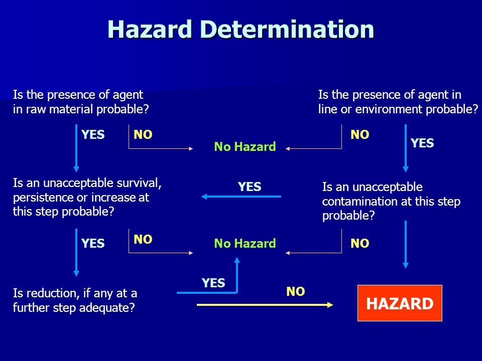 Hazard Determination Is the presence of agent in raw material probable.