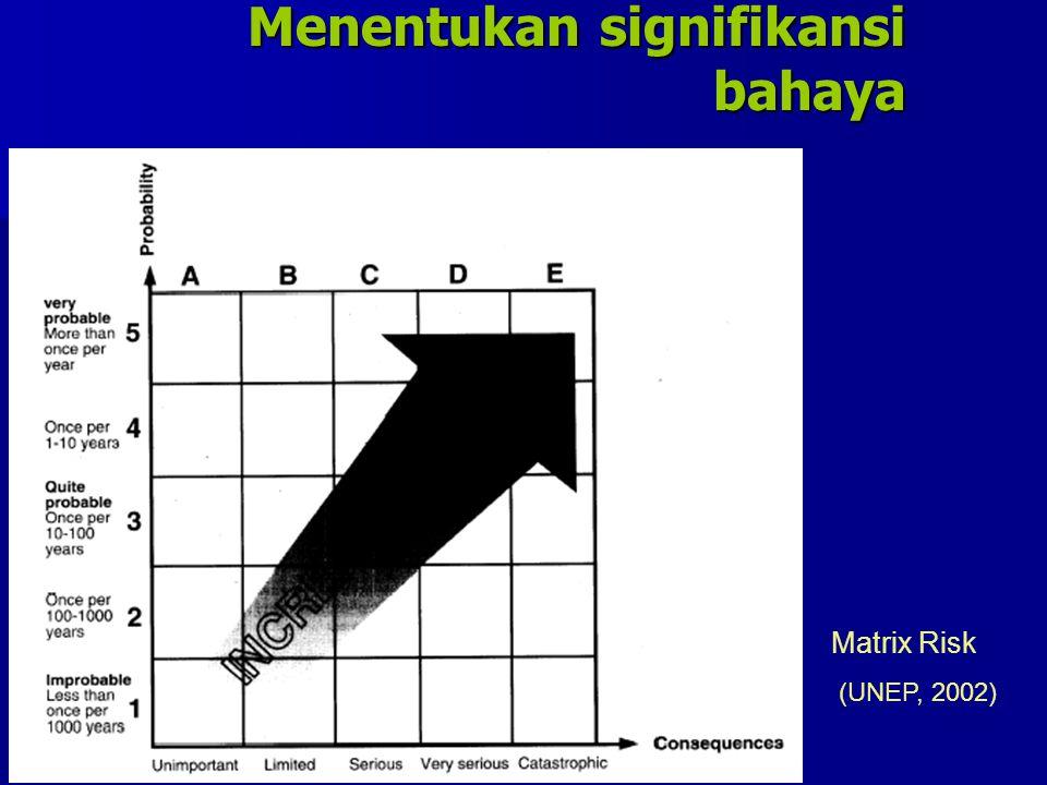 Menentukan signifikansi bahaya Matrix Risk (UNEP, 2002)