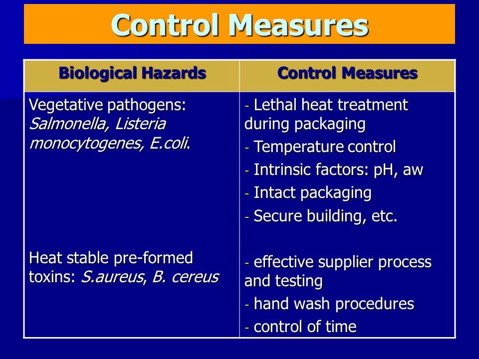 Control Measures Biological Hazards Control Measures Vegetative pathogens: Salmonella, Listeria monocytogenes, E.coli.
