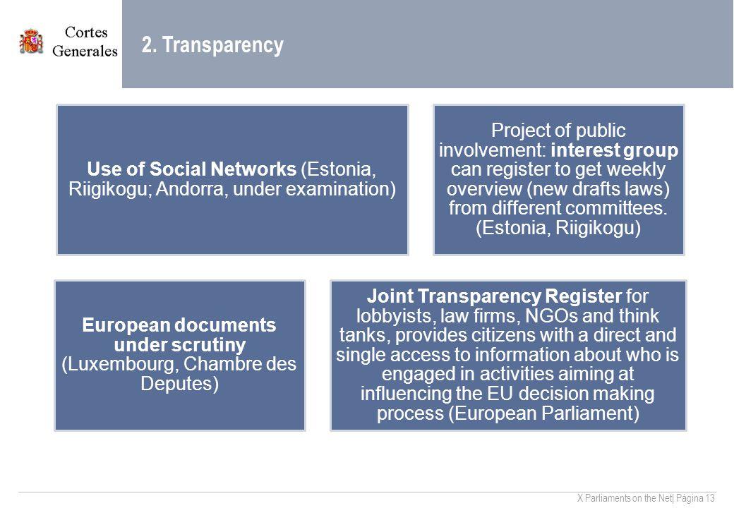 X Parliaments on the Net| Página 13 2.