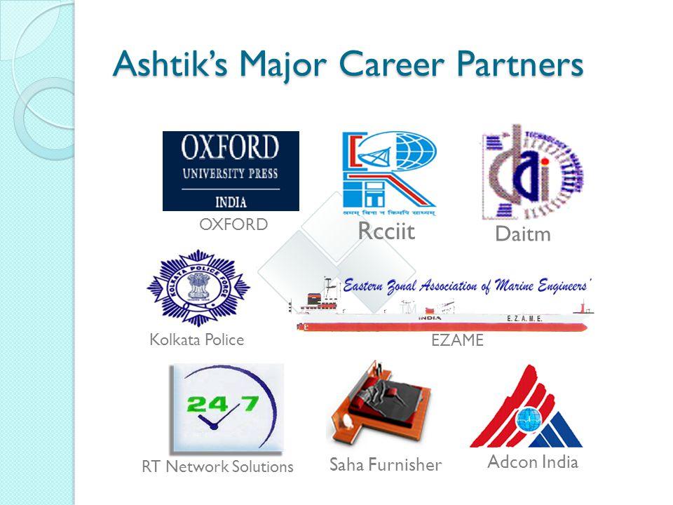 Ashtik's Major Career Partners OXFORD Daitm Rcciit Kolkata Police EZAME Adcon India RT Network Solutions Saha Furnisher