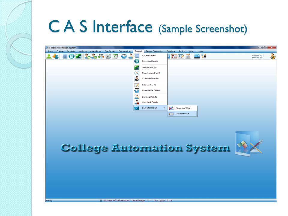 C A S Interface (Sample Screenshot)