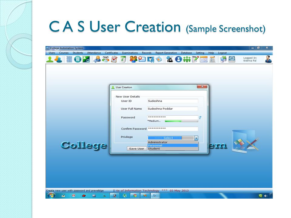 C A S User Creation (Sample Screenshot)