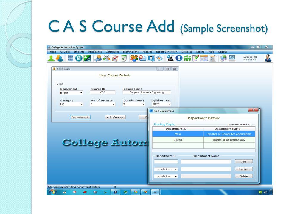 C A S Course Add (Sample Screenshot)