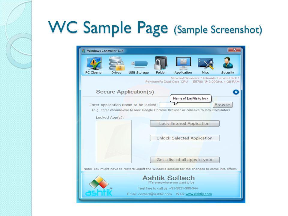 WC Sample Page (Sample Screenshot)