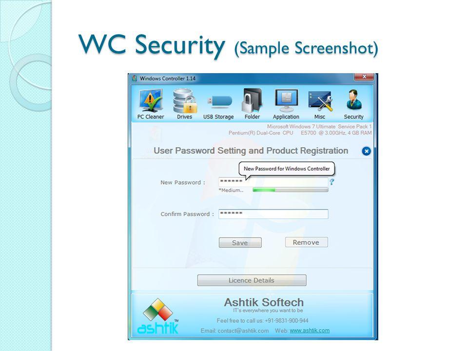 WC Security (Sample Screenshot)