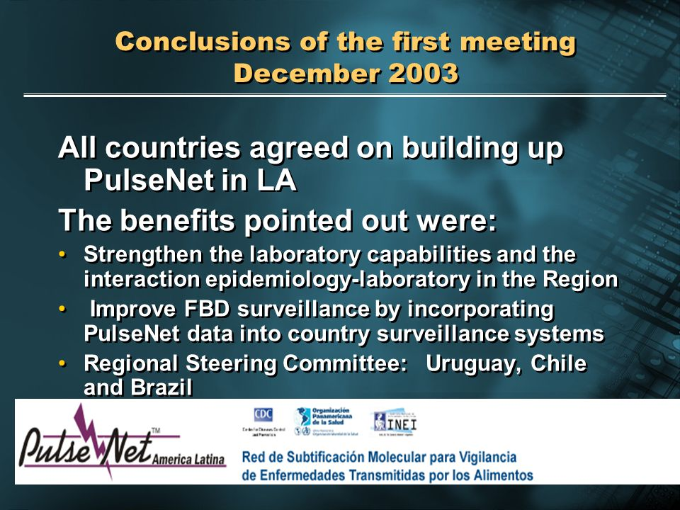 2004 Pan American Health Organization Conclusions of the first meeting December 2003 All countries agreed on building up PulseNet in LA The benefits p