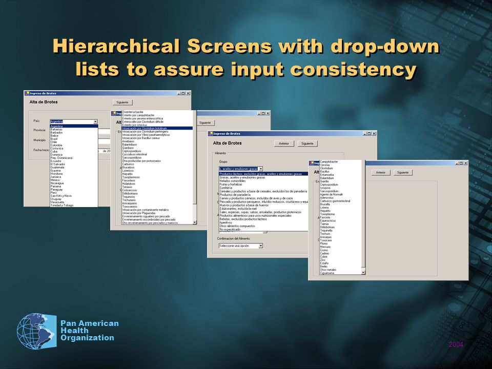 2004 Pan American Health Organization Hierarchical Screens with drop-down lists to assure input consistency