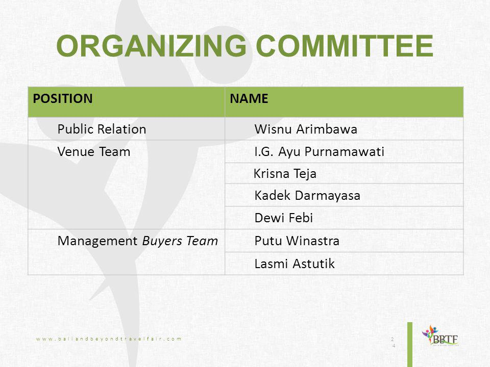 ORGANIZING COMMITTEE www.baliandbeyondtravelfair.com 2424 POSITIONNAME Public RelationWisnu Arimbawa Venue TeamI.G.