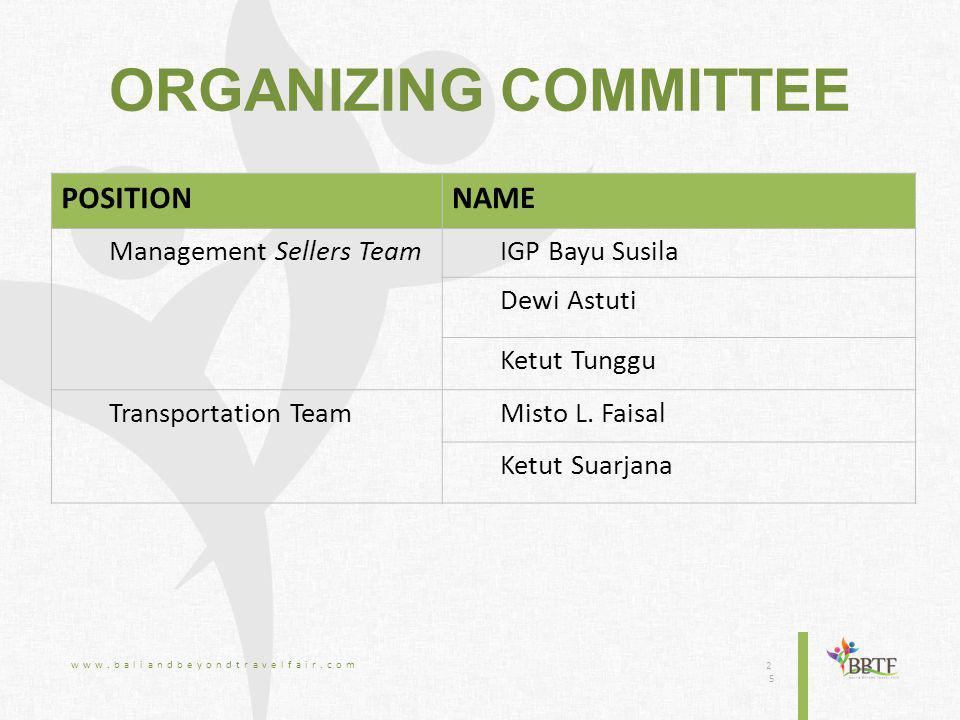 ORGANIZING COMMITTEE www.baliandbeyondtravelfair.com 2525 POSITIONNAME Management Sellers TeamIGP Bayu Susila Dewi Astuti Ketut Tunggu Transportation TeamMisto L.