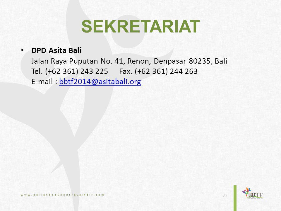 SEKRETARIAT DPD Asita Bali Jalan Raya Puputan No. 41, Renon, Denpasar 80235, Bali Tel.