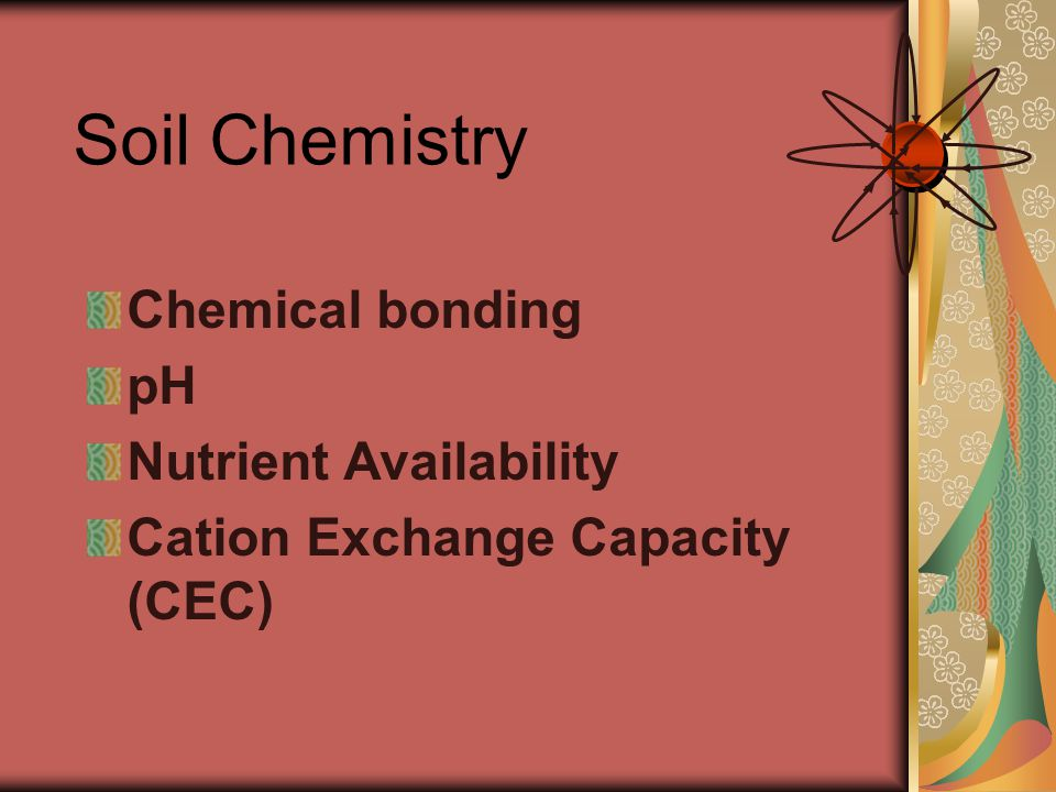 Chemical bonding pH Nutrient Availability Cation Exchange Capacity (CEC) Soil Chemistry
