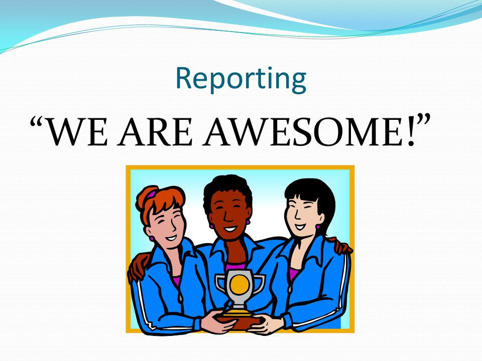 Reporting WE ARE AWESOME !