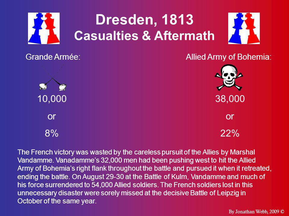 Dresden, 1813 Casualties & Aftermath Grande Armée:Allied Army of Bohemia: 10,000 or 8% 38,000 or 22% By Jonathan Webb, 2009 © The French victory was wasted by the careless pursuit of the Allies by Marshal Vandamme.