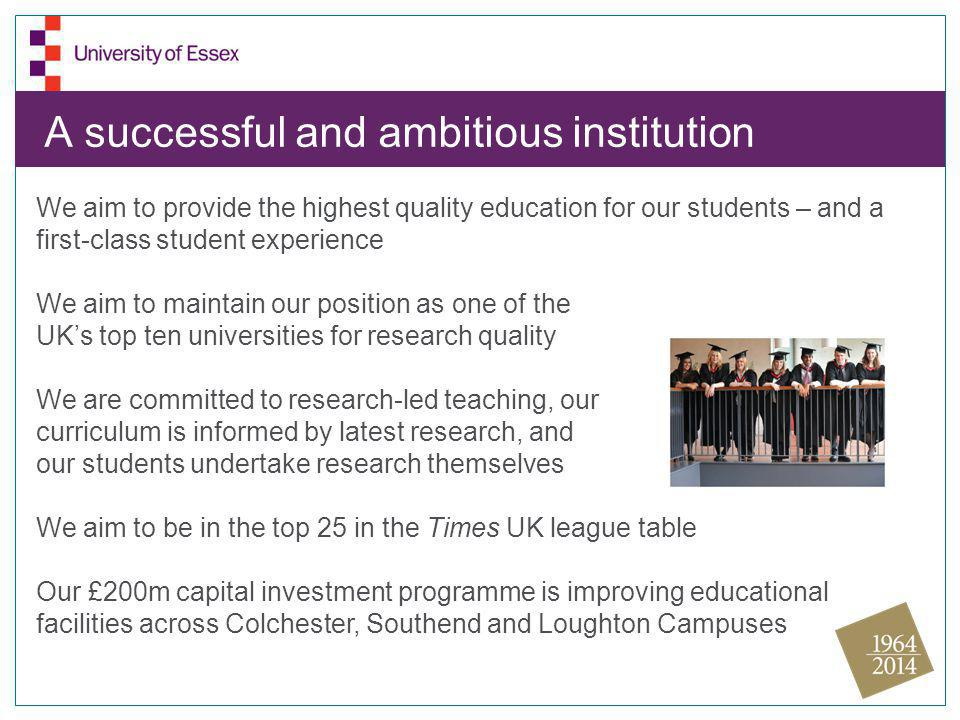 A successful and ambitious institution We aim to provide the highest quality education for our students – and a first-class student experience We aim to maintain our position as one of the UK's top ten universities for research quality We are committed to research-led teaching, our curriculum is informed by latest research, and our students undertake research themselves We aim to be in the top 25 in the Times UK league table Our £200m capital investment programme is improving educational facilities across Colchester, Southend and Loughton Campuses