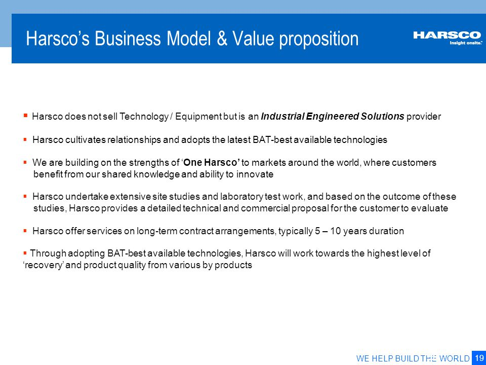 19 WE HELP BUILD THE WORLD Harsco's Business Model & Value proposition 19  Harsco does not sell Technology / Equipment but is an Industrial Engineere