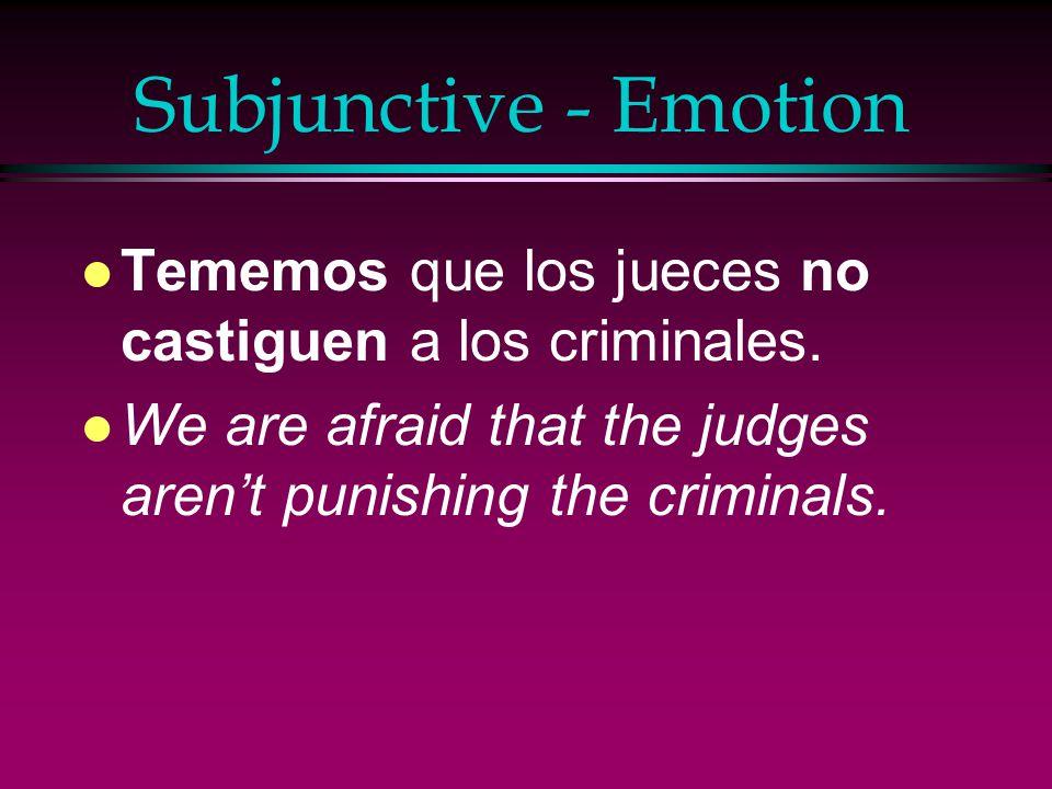 Subjunctive - Emotion l Alegrarse (de) l Encantar l Enojarse l Es una lástima l Es sorprendente l Es triste l Estar contento(a) l Estar emocionado(a) l Estar triste l Gustar l Sorprenderse (de) l Sentir l Temer l Tener celos de l Tener miedo de l Es una pena l Preocuparse de