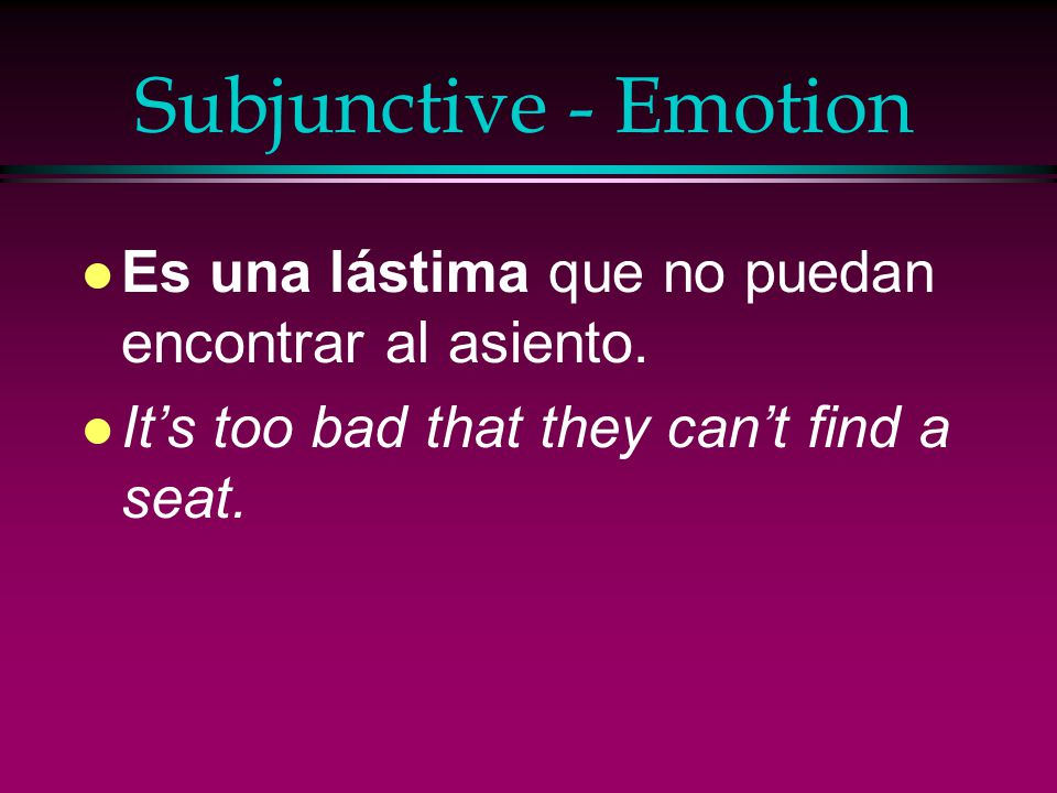 Subjunctive - Emotion l Me preocupa que haya tanta violencia en las ciudades. l It worries me that there is so much violence in the cities.