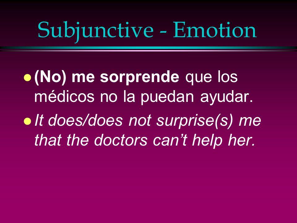 Subjunctive - Emotion l Sentimos que la víctima del accidente esté todavía en el hospital.