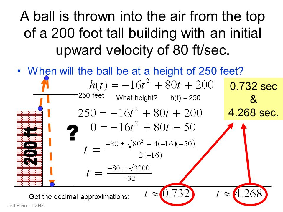 A ball is thrown into the air from the top of a 200 foot tall building with an initial upward velocity of 80 ft/sec.