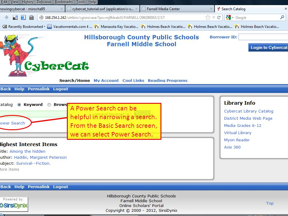 Here's a look at the Power Search screen.