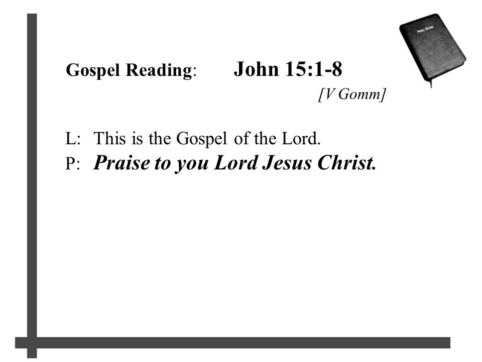 Gospel Reading: John 15:1-8 [V Gomm] L:This is the Gospel of the Lord.