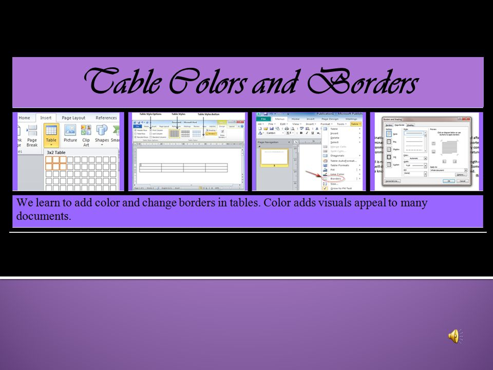 Table Colors and Borders