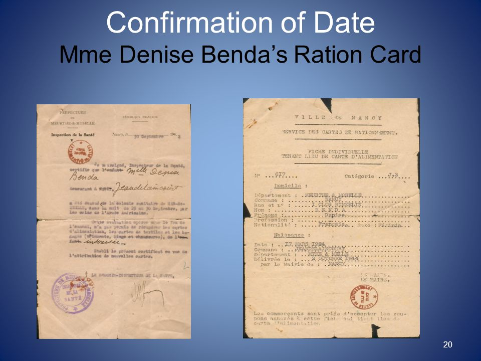 Confirmation of Date Mme Denise Benda's Ration Card 20
