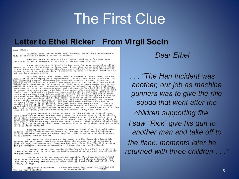 "Letter to Ethel Ricker From Virgil Socin Dear Ethel... ""The Han Incident was another, our job as machine gunners was to give the rifle squad that went"